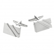 Silver Rectangular Cutout cufflinks