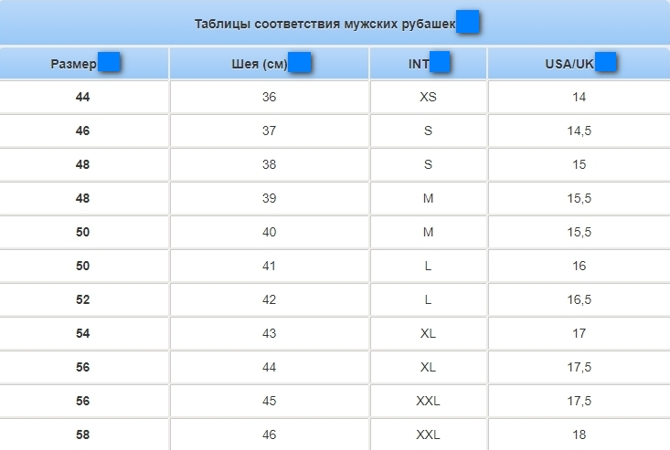 Таблица рубашки